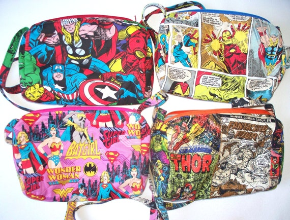 Marvel Comics Quilted Purse,Quilted Inside/Out,,Inside Key Clip,Coin Purse Handcrafted,Your Choice Cap America,Thor,Hulk,Wonder Woman,Super