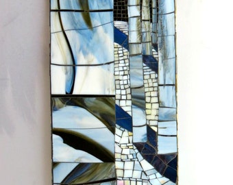 Stained Glass Mosaic Mural/ Colorado snow/ Aspen Trees