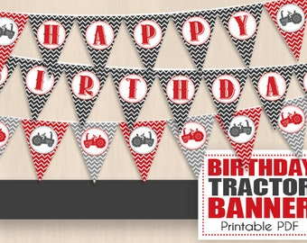 TRACTOR HAPPY BIRTHDAY Banner in Red and Charcoal Gray- Instant Printable Download