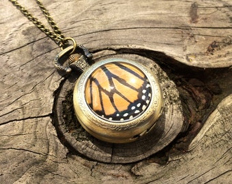 Pocket watch necklace Real Monarch Butterfly jewelry Women watches Unique watch Pocketwatch Mechanical pocket watch Westworld costume