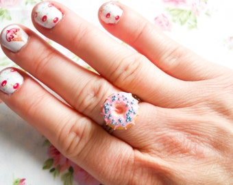 Donut Ring, Doughnut Ring, Donut, Doughnut, Cute Ring, Adjustable Ring, Polymer Clay, Ring, Pink, Sprinkle, Miniature Food, Food Ring