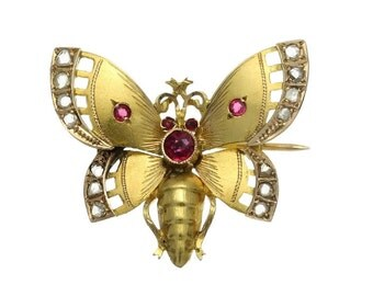 Antique Butterfly Brooch Victorian Butterfly Pin 18K Yellow Gold Rose Cut Diamond Red Paste Stones Victorian Jewellery