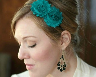 Teal Blue Double Flower Headband for Women