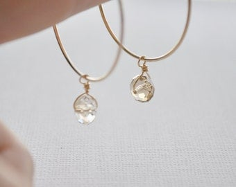 Golden Crystal Hoop Earrings - gold filled hoops swarovski crystal bead drops modern minimal sweet - simple everyday jewelry - adenandclaire