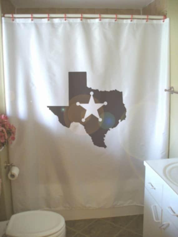 Star Bathroom Decor: Items Similar To Texas Lone Star Shower Curtain Map State