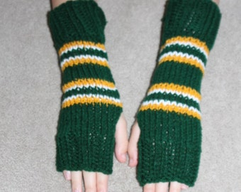 Green Bay Packers NFLTeam Colors Fingerless Gloves, Texting Mittens, One Size Fits All, Gift Idea
