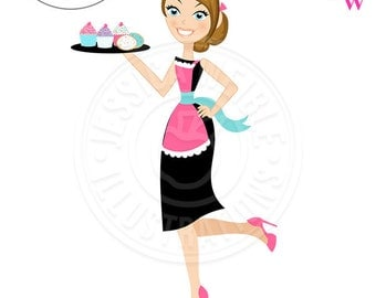 Stylish Sophisticated Baker Character Illustration, Brunette Baker wearing Heels, Woman holding Tray of Cupcakes, Woman Baker wearing Apron