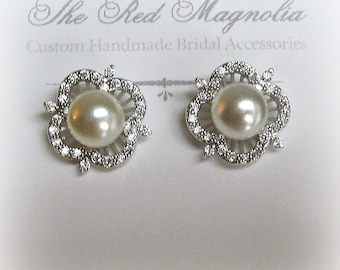 Pearl and Crystal Earrings, Pearl Studs, Vintage Style Bridal Earrings, Wedding Jewelry, Bridesmaid Earrings - ALINA
