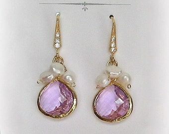 Lilac Crystal Earrings, Gold or Silver Bridesmaid Earrings with Freshwater Pearls, Lavender Pink, Custom Colors