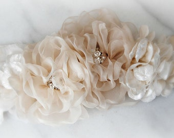 Champagne Bridal Sash, Cream Wedding Belt with Handmade Ivory and Champagne Organza Flowers, Ecru Sash - MAISY