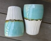 Handmade Ceramic Cup Tumbler Water Glass Hand Carved Drinkware in Aqua Blue Green and White Porcelain, Artisan Pottery by Licia Lucas Pfadt