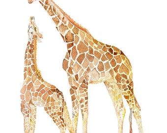 Giraffes Watercolor Painting - 11 x 14 - Giclee Print - African Animal Art - Giraffe Mother and Baby - Nursery Art
