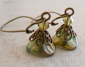 Bella's blossom crystal earrings -Green and  Brass earrings - Light Green flower, Free Shipping, gift, wedding, dangle