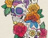 Bella Muerte - Calavera Cascade Embroidered on Cotton Kitchen Hand Towel, Day of the Dead
