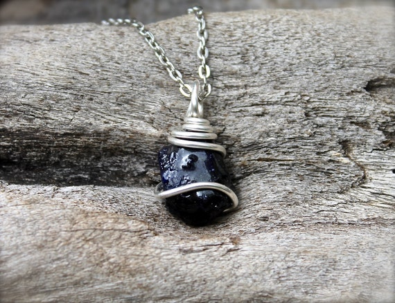 Raw Sapphire Jewelry - Rough Stone Necklace - Bohemian ...Unpolished Sapphire Necklace