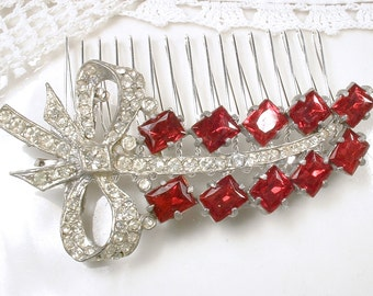 Antique Red Bridal HAIR COMB, Art Deco 1930s Ruby Rhinestone OOAK Red Hairpiece Leaf Vintage Wedding Hair Comb Accessory Gatsby Hairpiece