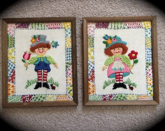 Vintage Hand Stitched Pictures Set Boy Girl Bright Colors Nursery Child Room
