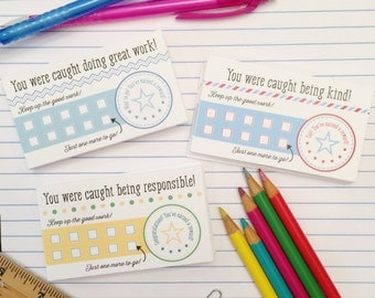 Classroom Reward Cards and Student Reward Certificates for Teachers - Printable Teacher Punch Cards - Back to School Supplies