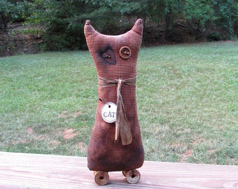 Primitive Cat Sitter, Shabby Cat, Primitive Cat, Shabby, Cottage Decoration, Red Gingham, Cat, Rusty Heart, Shelf Sitter, Red and White, Woo