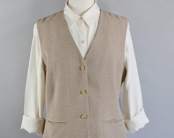 Vintage 80s Womens Light Beige Brown Button Down Vest, Steampunk, Victorian, Size Medium