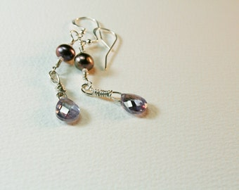 Sterling Silver CZ Crystal & Peacock Freshwater Pearl OOAK Earrings Wedding Luxury Trendy Jewelry Lavender Purple -EvaBarkmanDesigns- SRAJD