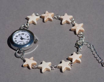 White howlite stars bracelet watch, beaded bracelet watch, womens wrist watch