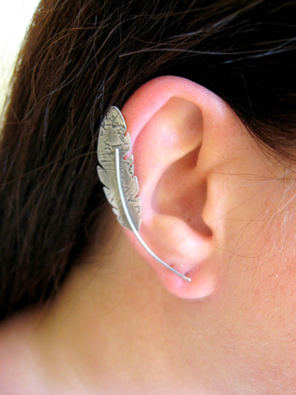 Sterling Silver Feather Ear Cuff Sterling Silver Ear Climber