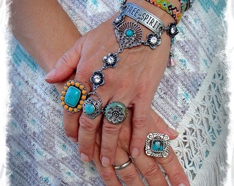 Hand Harness FREE SPIRIT Ring Bracelet Tribal Silver Rhinestone Flower bracelet Message jewelry Boho Summer HIPPIE Gypsy jewelry GPyoga