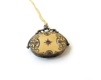 Antique Locket With Red Paste Stone c.1880s