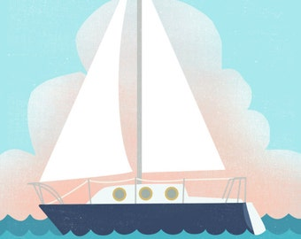 Customizable Vintage Sailboat Print