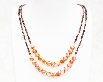 "Multistrand necklace with irridescent honey crystal beads - ""Patio Sunset"""