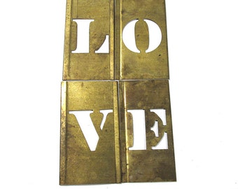 "LOVE Brass Letters VINTAGE Stencils Four (4) 1"" Letters Scrapbooking Altered Art Assemblage Mixed Media Supplies Large Brass Stencils (L86)"