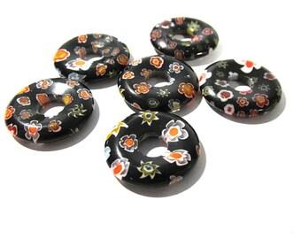 Black GLASS Millefiori Donuts Six (6) 20mm - 22mm Millefiori FLOWERS Black Donuts Ring Beads Millefiori Glass Jewelry Supplies (Y174)