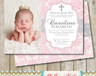 Baby Girl Baptism Invitation with Photo- Twins/ Girls / DIY / Printable / Bridal Shower / Baby Shower / Damask / Lace
