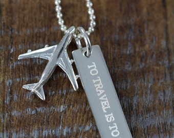 Travel Airplane Necklace Engraved, Graduation Gift for Pilot Flight Attendant