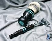 Wet Shaving kit Men's Gillette Mach3 razor Fusion silvertip badger hair brush African blackwood father's day birthday groom gift ready2ship
