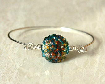 Lampwork Lentil bead bangle bracelet