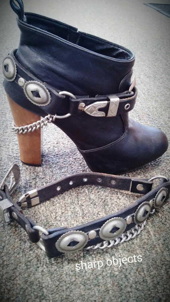 Tough - unisex concho, silver hardware, buckle & curb chain adjustable black leather boot strap, pair