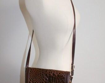 Small Brown Faux Croc Saddle Bag