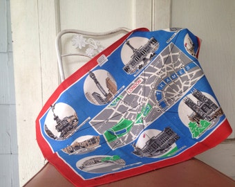 LONDON's CALLING, vintage 1960s  Linen Tea Towel - Blackstaff Irish Dish Rag - souvenir map - red + blue + gray + green - DEADSTOCK, nos
