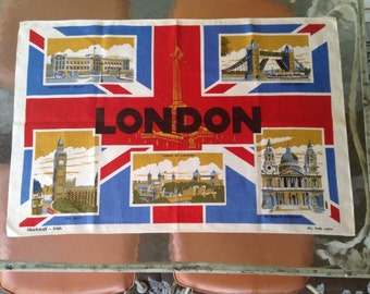 LONDON's CALLING, vintage 1960s  Linen Tea Towel - Blackstaff Irish Dish Rag, Hand Towel - British souvenir, Union Jack Flag