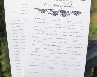 Printable Wedding Advice Cards | Wedding advice for the bride and groom | Unique wedding mad lib guest book advice card | Vintage Damask