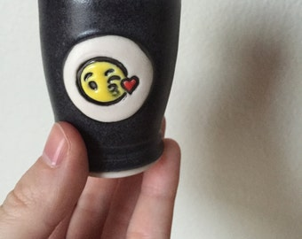 Full of Emojis 'Kissy-Winky Heart Face' Emoji Shot Glass in Charcoal Gray - Ready to ship