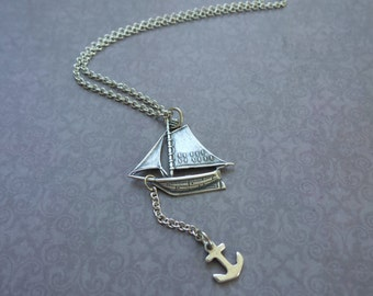 Sailboat Necklace, Summer Necklace, Summer Outdoors, Summer Party, Silver Boat Necklace, Ship with Anchor, Wanderlust Necklace, Gift for Her