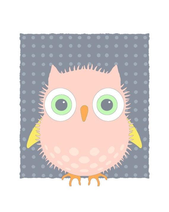 Kids Wall Art, Cute Owl Art Print, Bird Illustration Quirky Print, Room Decor, Kids Room Decor, Nursery Animal Whimsical Bird Peach Pink 02
