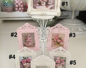 FRAMED FLORAL PICTURES - Shabby Chic Art - Dollhouse Miniature 1:12 Scale