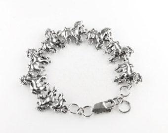Running Stallions Sterling Silver Bracelet