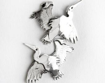 Heron Sterling Silver Post Earrings