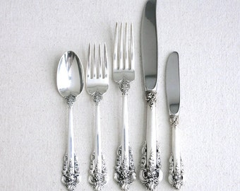 Vintage Wallace Grande Baroque Sterling Silver Flatware Service for 8 - 40 Pieces - Eight Place Settings - Classic Traditional Dining 1970s