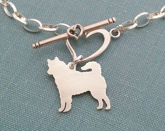 Siberian Husky Dog Chain Bracelet, Sterling Silver Personalize Pendant, Breed Silhouette Charm, Rescue Shelter, Birthday Gift